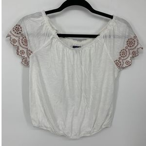 AEO off white crop boho peasant blouse S